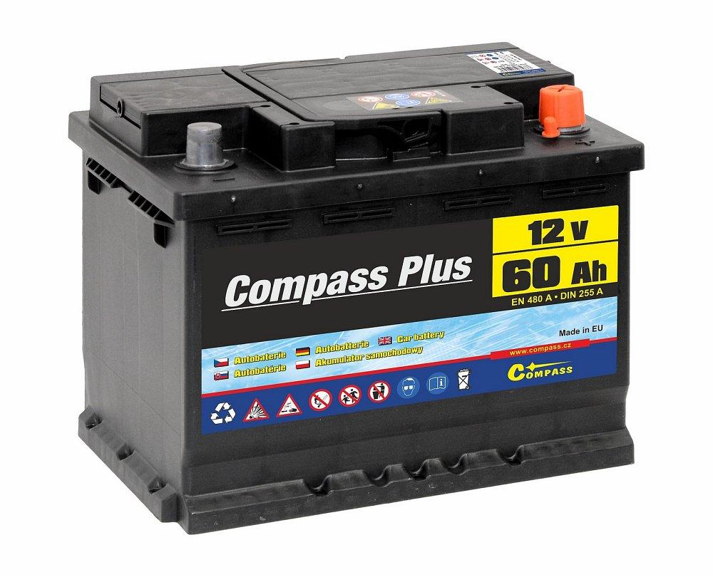 Compass Autobaterie COMPASS PLUS 12V 60Ah 480A