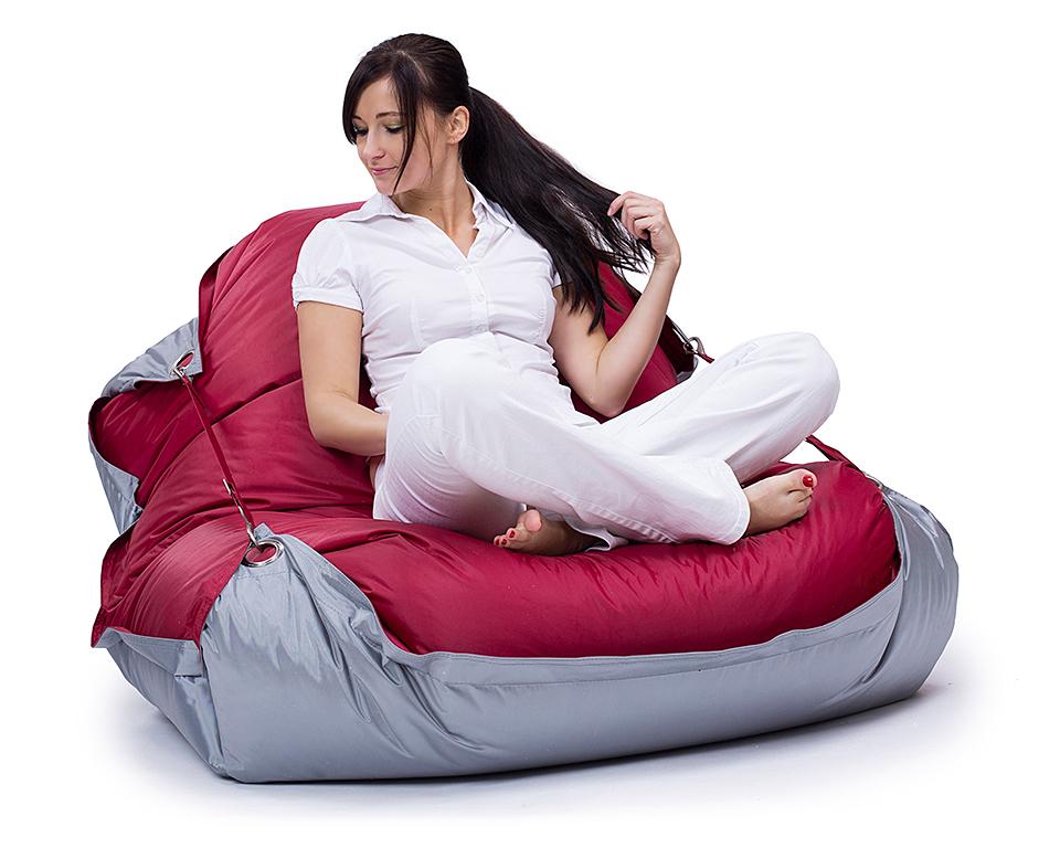 Omni Bag Duo 191x141 Rubin-Silver - sedací pytel s popruhy větší velikost