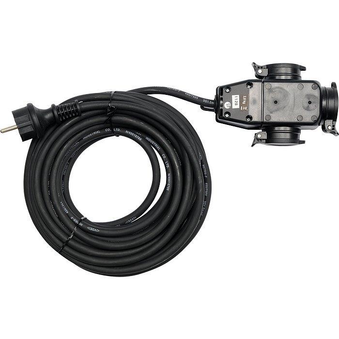 Compass Prodlužovací kabel s gumovou izolací 10m -3zásuvky