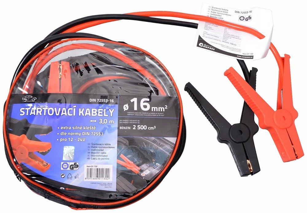 Compass Startovací kabely 16 délka 3m TÜV/GS DIN72553