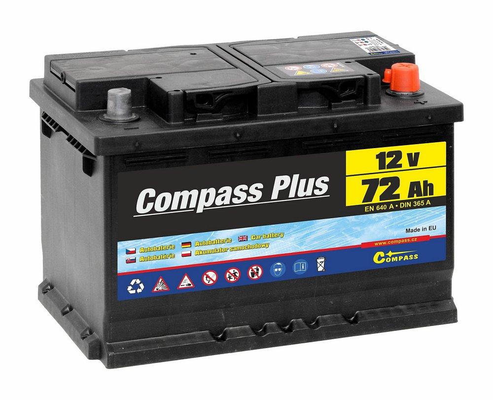 Compass Autobaterie COMPASS PLUS 12V 72Ah 640A