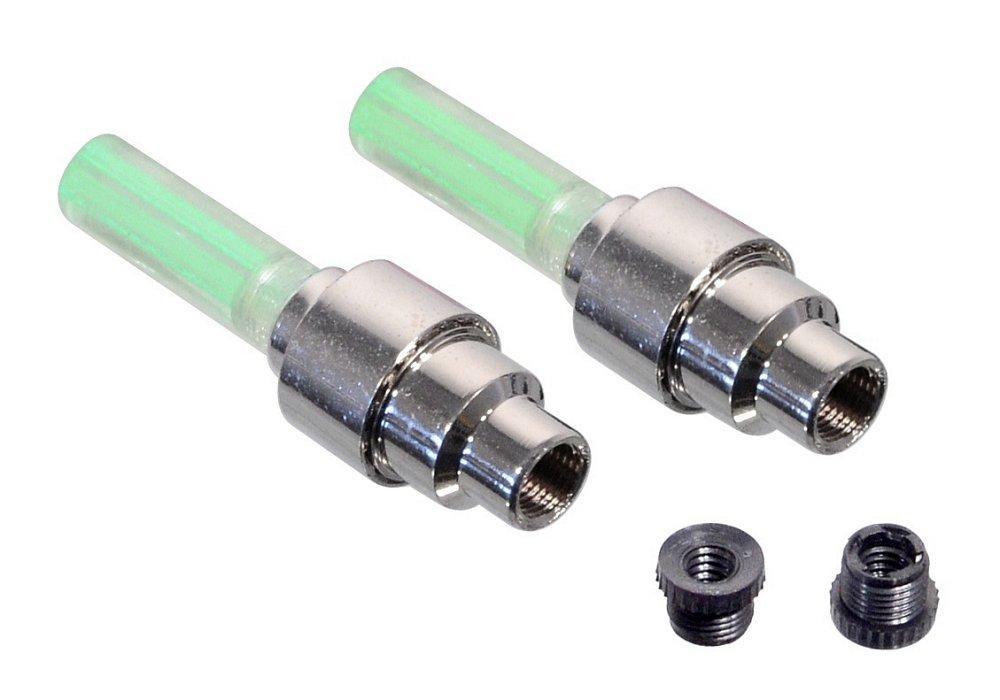 Svítící ventilek na kolo LED 2ks zelený