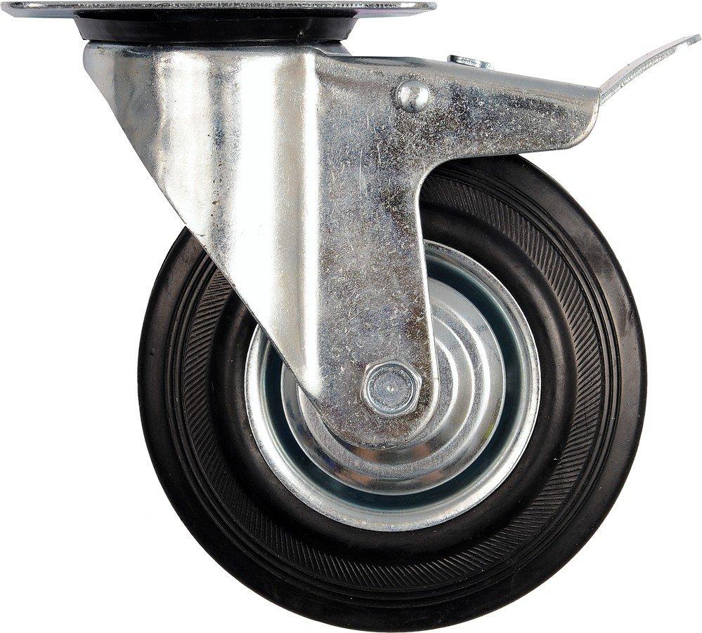 Compass Kolečko otočné s brzdou, gumové 130kg 160/40/195mm