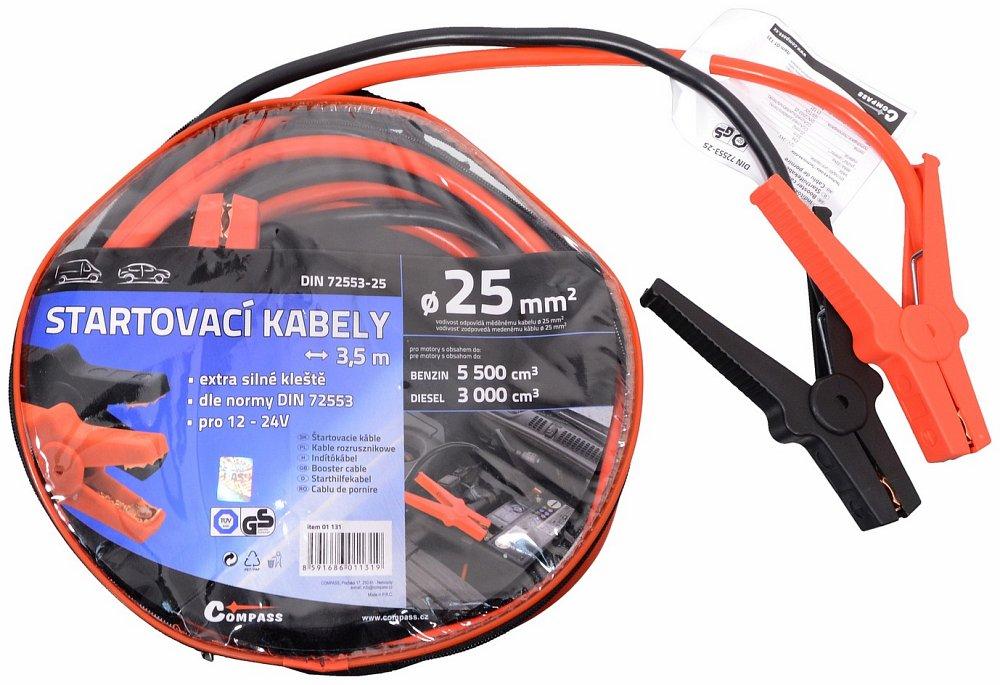 Compass Startovací kabely 25 délka 3,5m TÜV/GS DIN72553