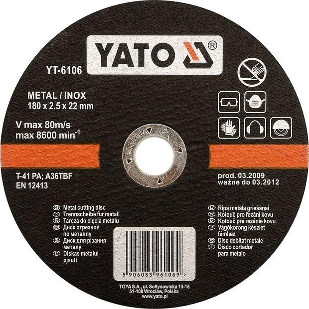 Kotouč na řezání kovu INOX 180x2,5x22