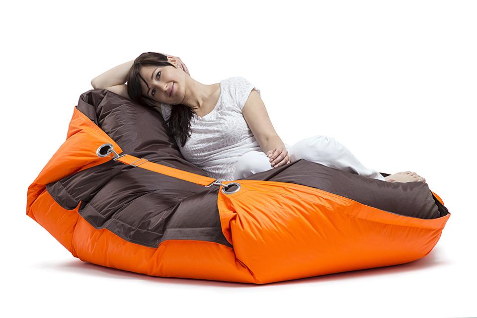 Omni Bag Duo 181x141 Fluorescent Orange-Chocolate - sedací pytel s popruhy