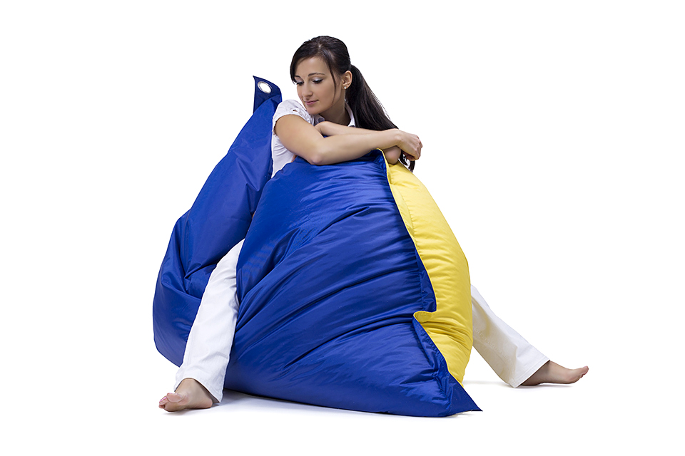 Omni Bag Duo 181x141 Dark Blue-Yellow - sedací pytel s popruhy