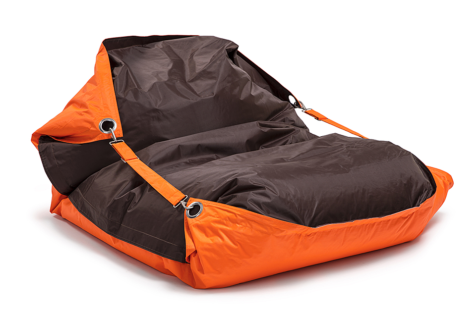 Sedací pytel Omni Bag Duo s popruhy Fluorescent Orange-Chocolate 191x141