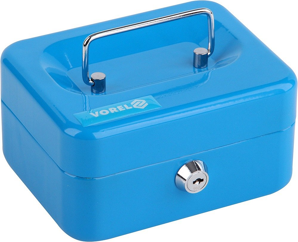 Pokladna příruční 150x120x80mm, modrá, 2klíče