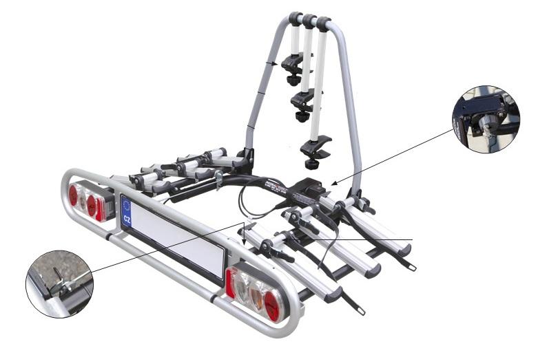 Piccola ZNK3 - nosič na tažné zařízení pro 3 jízdní kola