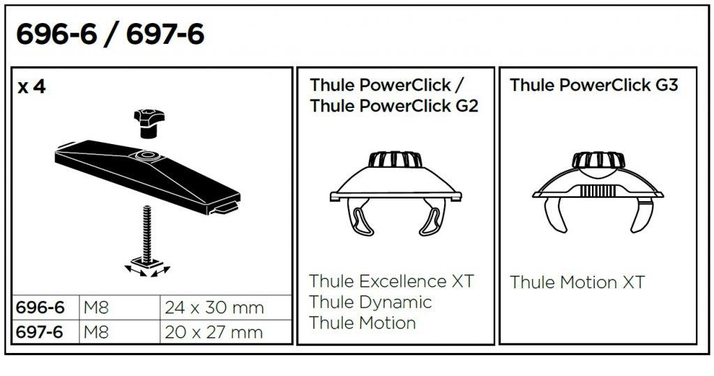 Thule 697-6 - T-adaptery pro hliníkové střešní nosiče