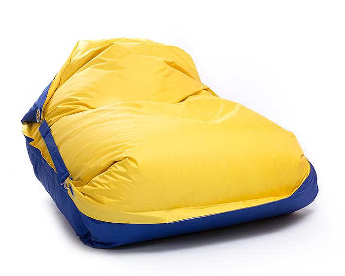 Omni Bag Duo 191x141 Dark Blue-Yellow - sedací pytel s popruhy