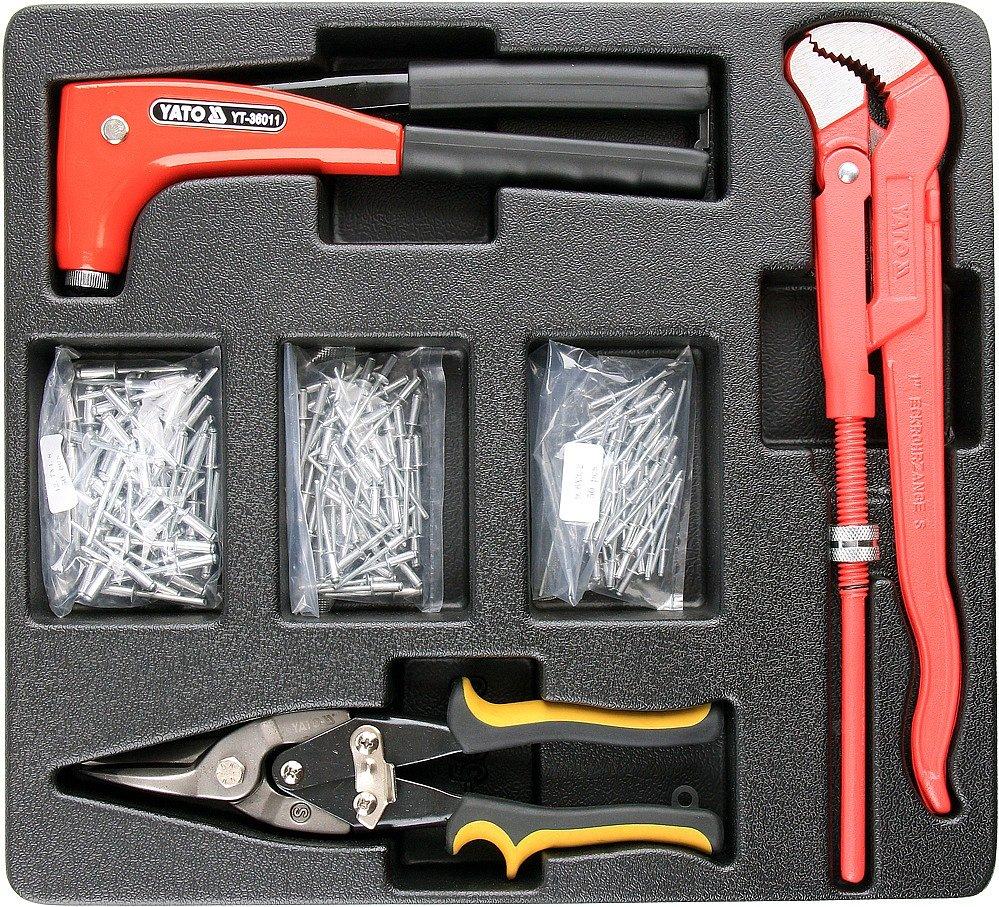 Vložka do zásuvky - kleště nýtovací, 3x sada nýtů, nůžky na plech, hasák 330mm