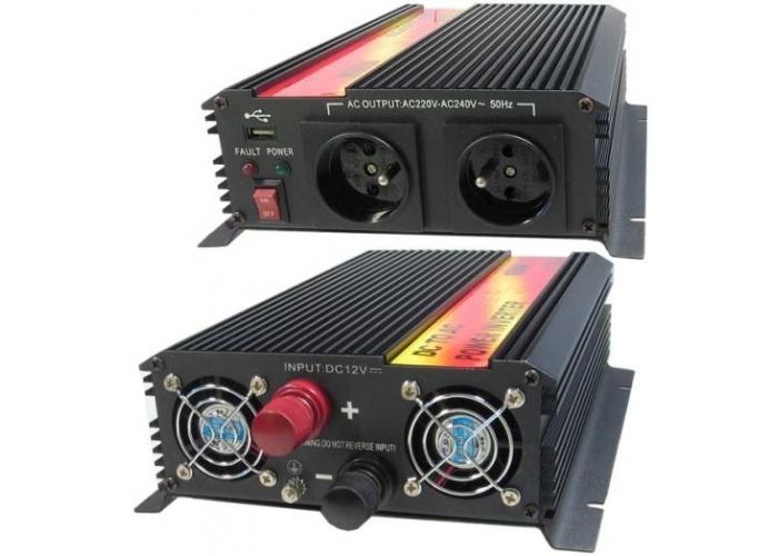 Napěťový měnič Carspa CAR1.6KU-12, 12V/230V+USB 1600W - SKLADOVÝ VÝPRODEJ