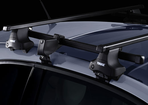 Střešní nosiče Thule 754+762+kit+774 pro 3 dveřová auta - ocelové tyče