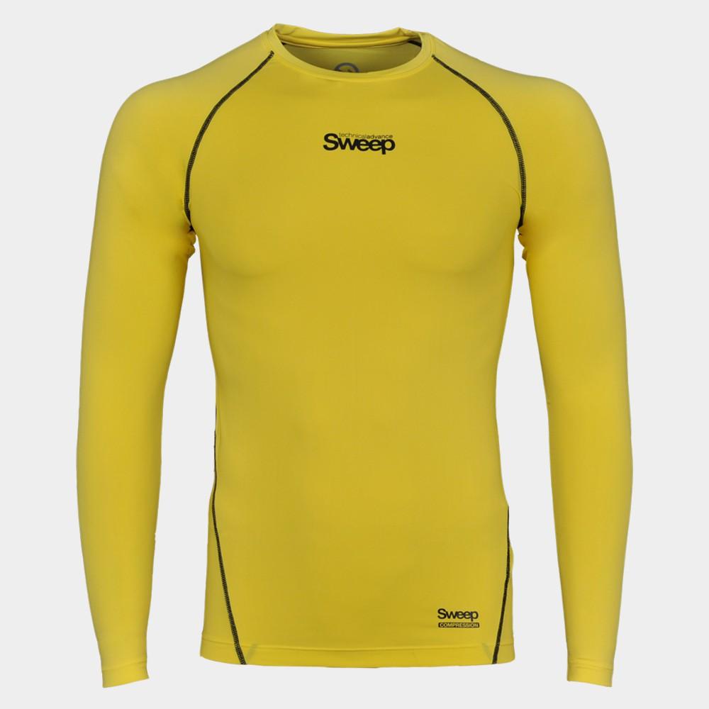 Pánské kompresní triko dlouhý rukáv SMFT011 žluté