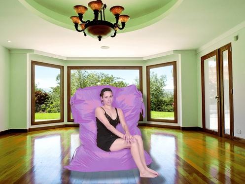 Sedací pytel CrazyBag Outdoor Violet - větší velikost 188x140 s popruh
