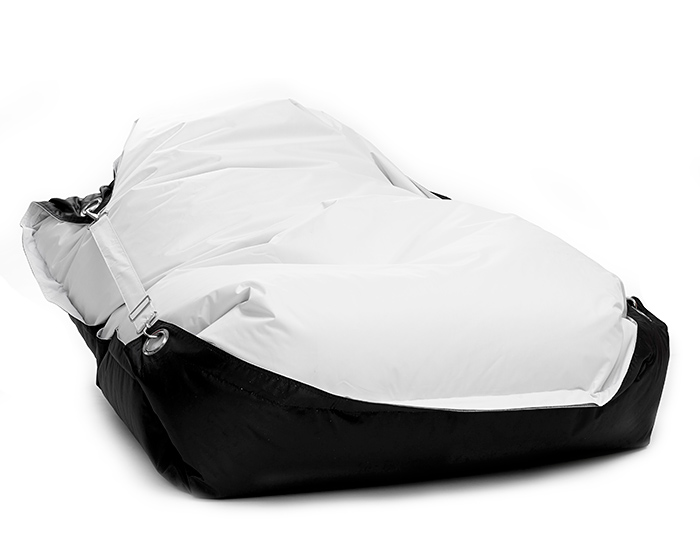 Sedací pytel Omni Bag Duo s popruhy White-Black 181x141