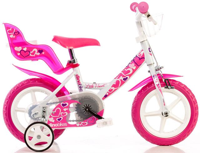 """ACRA Dino 124GLN bílá+růžový potisk 12"""" 2015 dětské kolo"""