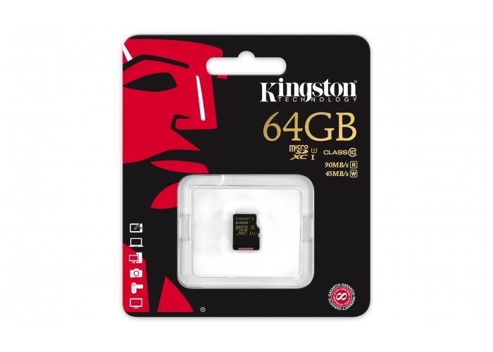 Paměťová karta Kingston micro SDXC UHS-I 64GB, 90R/45W, class 10, bez adaptéru - SKLADOVÝ VÝPRODEJ