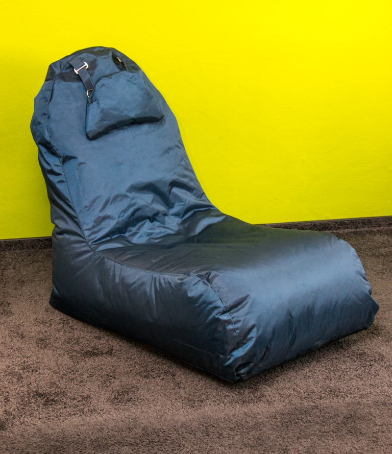 OMNIBAG Pillow Lounge new design 120x60x90 tmavě modrý - sedací pytel - křeslo s podhlavníkem