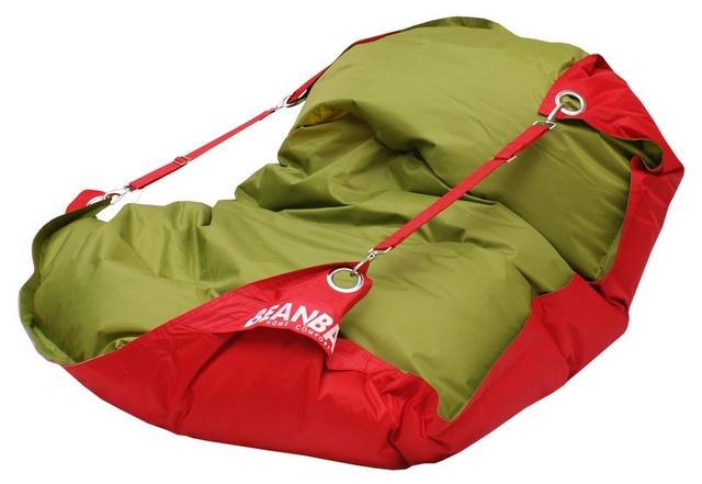Sedací pytel Beanbag Duo s popruhy 189x140 Scarlet Rose - Green Frog
