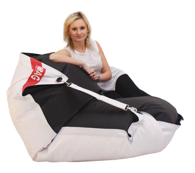 Sedací pytel Beanbag Duo s popruhy 189x140 White - Black