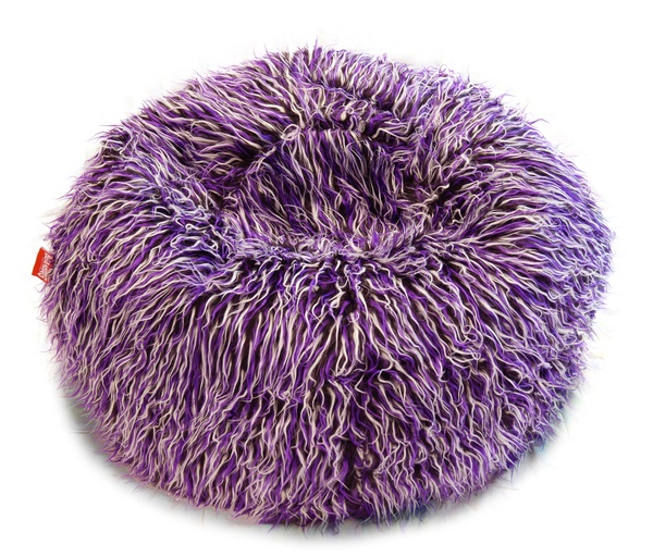 Sedací vak Beanbag Shaggy 90x50 Multicolor white-black-purple