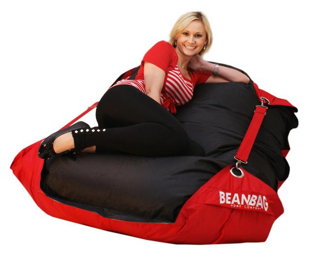 Sedací pytel Beanbag Duo s popruhy 189x140 Scarlet Rose - Black