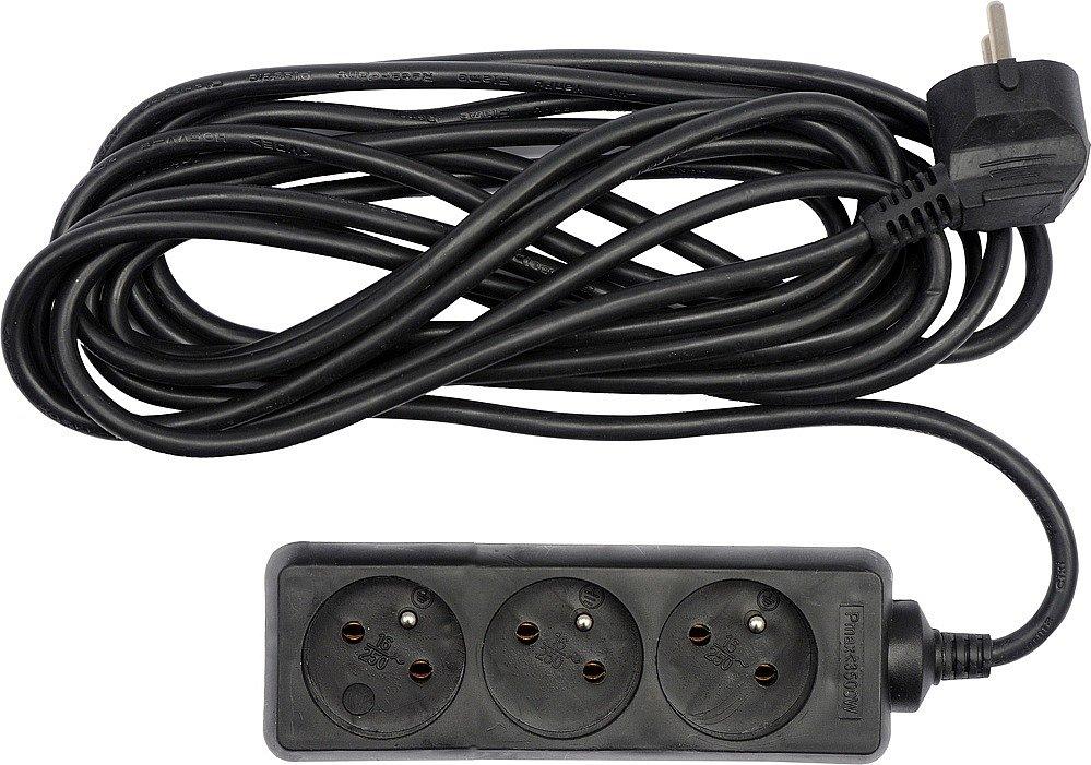 Kabel prodlužovací 1,5 m 3 zásuvky,černý