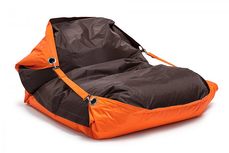 OMNIBAG Duo 191x141 s popruhy Fluorescent Orange-Chocolate - sedací vak