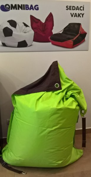 Sedací pytel Omni Bag Duo s popruhy Fluorescent Yellow-Chocolate 191x141